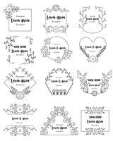Hand getekend floral frames instellen voor branding vector