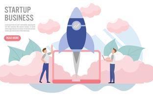 Opstarten van bedrijven concept met karakter. Creatief platte ontwerp voor webbanner vector