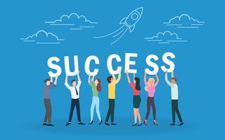Creatief brainstormings bedrijfsgroepswerk succesvol en bedrijfsstrategieconcept voor teambouw, mede-werkt en succes. Platte ontwerpkarakters voor webbanner, marketingmateriaal en presentatie.