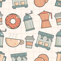 Leuk naadloos patroon met koffiewinkel vector