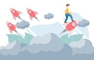 Denk ander concept met karakter. Creatief vlak ontwerp voor webbanner