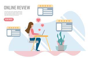 Klantenrecensie online concepten met karakter. Creatief platte ontwerp voor webbanner vector