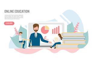 Online onderwijs en e-learning concept met karakter. Creatief plat ontwerp voor webbanner