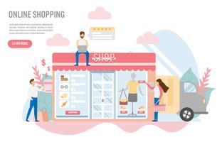 Online winkelen met karakter. Creatief plat ontwerp voor webbanner