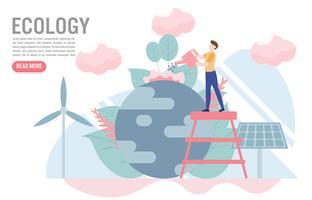Ecologieconcept met karakter Creatief vlak ontwerp voor Webbanner vector