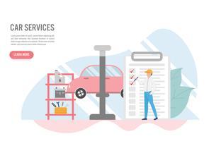 Auto service concept met karakter. Creatief platte ontwerp voor webbanner