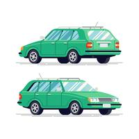 Hatchback-voertuig, achter- en vooraanzicht vector