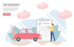 Autoverzekering concept met karakter. Creatief plat ontwerp voor webbanner