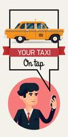 Zakenman die het malplaatje van de taxibanner roepen