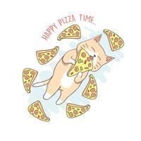 kat schattige pizza vliegen vector