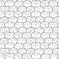 Leuke katten Vector patroon achtergrond. Leuke Doodle. Handgemaakte vectorillustratie.