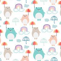 Schattige beer en paraplu patroon achtergrond voor kinderen. Vector illustratie.