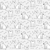 Hand getekende schattige honden patroon achtergrond. Vector illustratie.