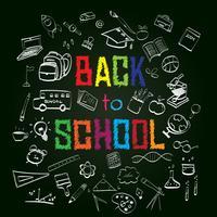Terug naar school, onderwijs concept achtergrond met lijn kunst pictogrammen en symbolen