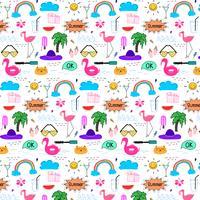 Patroon met de hand getrokken Doodle zomer achtergrond. Doodle grappig. Handgemaakte vectorillustratie. vector