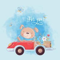 Leuke cartoonhond op een vrachtwagen met bloemen, prentbriefkaarafficheposter voor de ruimte van een kind.