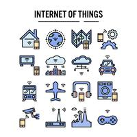 Internet van dingen pictogram in gevulde omtrek ontwerp