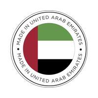 Gemaakt in de vlagpictogram van Verenigde Arabische Emiraten. vector
