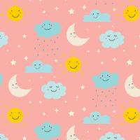De glimlachende Leuke Achtergrond van het Wolkenpatroon. Vector illustratie.