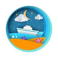 Schip, papier landschap, zee, wolk, ster cartoon afbeelding.