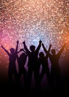 Partij menigte achtergrond met glitter lichten