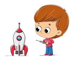 Jongen met een speelgoedraket vector