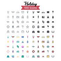 vakantie icon set vector