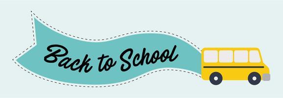 Schoolbus met bericht Terug naar school op blauwe vlag.