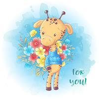 Cartoon Leuke giraffe met een boeket bloemen. Verjaardagskaart. Vector illustratie