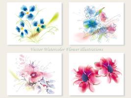 Set van vier geassorteerde vector bloemillustraties.