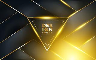 Moderne donkere achtergrond met glans, gouden lijn en Glitter vector