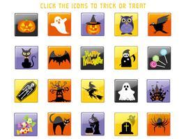 Reeks geassorteerde Gelukkige Halloween-gebruikersinterfacepictogrammen.