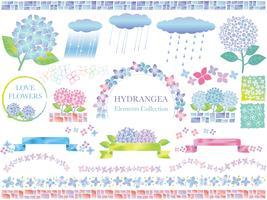 Set van diverse vectorillustraties met hortensia's