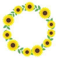 Circulaire zonnebloem frame met tekst ruimte. vector