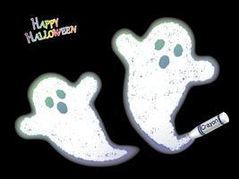 Gelukkige Halloween-kleurpotlood witte spook vectorillustratie op een zwarte achtergrond.