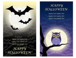 Set van twee Happy Halloween-sjablonen voor wenskaarten met vleermuizen en een uil. vector