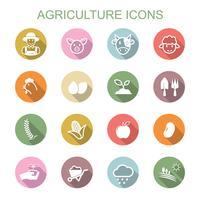 landbouw lange schaduw pictogrammen