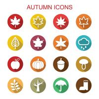 herfst lange schaduw pictogrammen