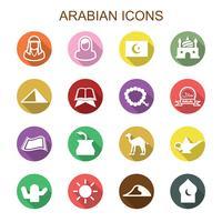 Arabische lange schaduw pictogrammen vector