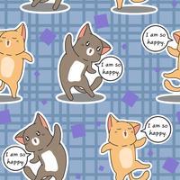 Naadloze 2 katten zijn gelukkig patroon. vector