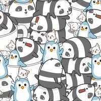 Naadloos panda en vriendenpatroon.