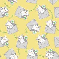 Naadloze kleine kat vertelt om van u te houden patroon. vector