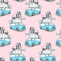 Naadloze leuke reuzekat en panda's op blauw van patroon.