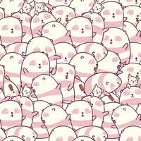 Naadloos veel panda's en kattenpatroon. vector