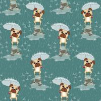 Naadloze hond houdt paraplu patroon.