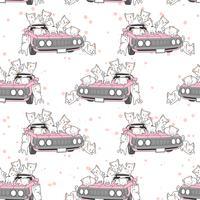 Naadloze getrokken kawaii katten en roze auto patroon.