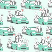 Naadloze kawaii panda en katten met auto in vakantiepatroon.