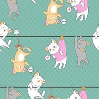 Naadloze kleine kat was opgehangen patroon. vector