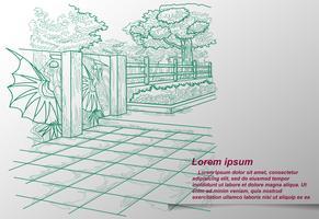 Het schetsen van de contouren van een natuurpark. vector