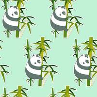 Naadloze panda op bamboepatroon. vector